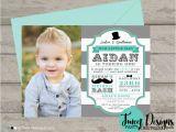 Little Man First Birthday Invitations Little Man Photo Invitation 1st Birthday Invitation Boy