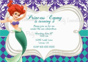 Little Mermaid Birthday Invitation Template 40th Ideas Templates