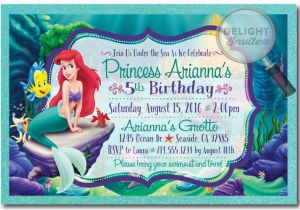 Little Mermaid Birthday Invites Princess Ariel Invitations Di 282