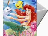 Little Mermaid Printable Birthday Card the Little Mermaid Ariel Personalised Birthday Card
