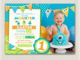 Little Monster 1st Birthday Invitations First Birthday Invitation Boys Monster 1st Birthday Boys
