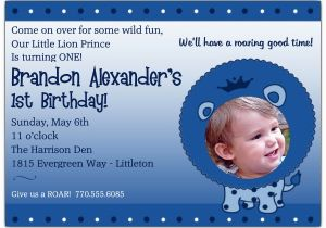 Little Prince 1st Birthday Invitations 1st Birthday Little Lion Prince Photo Invitations Paperstyle