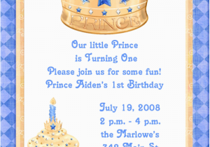 Little Prince 1st Birthday Invitations Blue Prince 1st Birthday Party Invitations