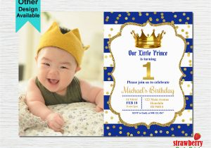 Little Prince 1st Birthday Invitations Prince Birthday Invitation Royal Blue Gold Birthday