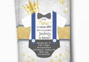 Little Prince 1st Birthday Invitations Prince Birthday Invitation Royal Prince First 1st Birthday