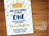 Little Prince 1st Birthday Invitations Printable Navy Blue and Gold Little Prince Birthday