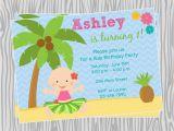 Luau 1st Birthday Invitations Diy Luau Baby Girl First Birthday Invitation Coordinating