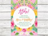 Luau 1st Birthday Invitations Tropical Birthday Invitation Luau Birthday Invitation