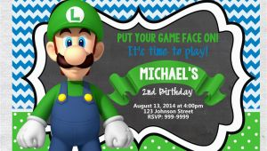 Luigi Birthday Invitations Luigi Birthday Invitation Chalkboard Chevron Pattern Luigi