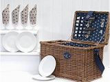 Luxury Birthday Gifts for Him 4 Person Luxury Picnic Basket with Shoulder Straps and