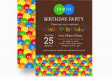 M M Birthday Party Invitations M and M Birthday Party Invitations Kids Colorful Candy