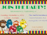 M M Birthday Party Invitations M M 39 S Birthday Diy Custom Invitations M M Birthday Party