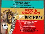 Madagascar Birthday Invitations Madagascar 3 Party Invitations Printable or Prints