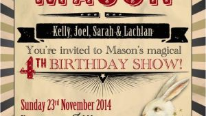 Magic themed Birthday Invitations Abracadabra A Boy 39 S Vintage Magic Birthday Party