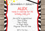 Magic themed Birthday Invitations Magic Party Invitations Template Birthday Party