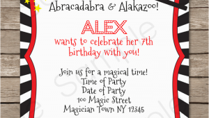 Magician Birthday Invitations Magic Party Invitations Template Birthday Party