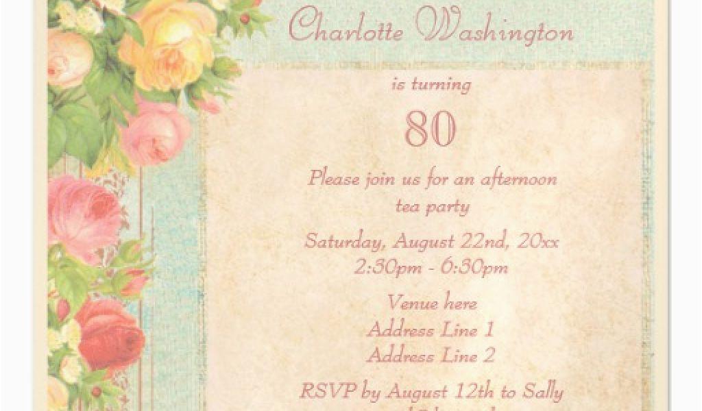 Magnetic Birthday Party Invitations Elegant Vintage Roses 80th