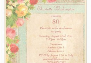 Magnetic Birthday Party Invitations Elegant Vintage Roses 80th Birthday Party Magnetic