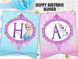 Make A Happy Birthday Banner Online Free Frozen Elsa Birthday Banner Glitter Banner Printable Digital