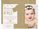 Make Your Own 1st Birthday Invitations First Birthday Faux Gold Glitter Pink Invitation