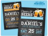 Male 30th Birthday Invitations 30th Birthday Invitation for Men Cheers Beers Invitation