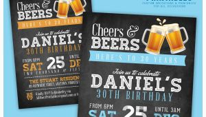 Male 30th Birthday Invitations 30th Birthday Invitation for Men Cheers Beers Invitation