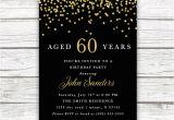 Male 60th Birthday Invitations Adult Male Birthday Invitation Black and Gold Birthday