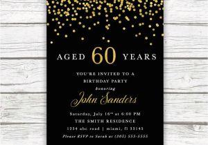 Male 60th Birthday Invitations Adult Invitation Black And Gold
