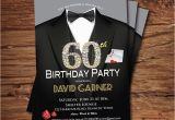 Male 60th Birthday Invitations Casino 60th Birthday Invitation Adult Man Birthday Party