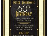 Male 60th Birthday Invitations Man 39 S 60th Birthday Invitation Black Gold Art Deco