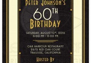 Male 60th Birthday Invitations Man 39 S Invitation Black Gold Art Deco