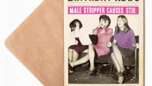 Male Stripper Birthday Card Male Stripper Birthday Card for Her