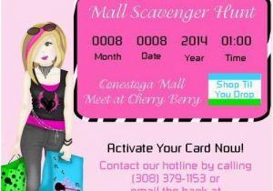 Mall Scavenger Hunt Birthday Party Invitations 19 Best Mall Scavenger Hunt Shopping Party Images On
