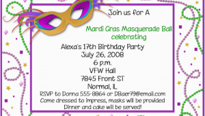 Mardi Gras Birthday Invitation Wording Mardi Gras Birthday Invitations Ideas Bagvania Free