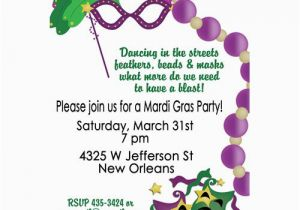 Mardi Gras Birthday Invitation Wording