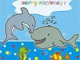 Marine Happy Birthday Card Happy Birthday Marine Life Stock Vector Image Of Animal
