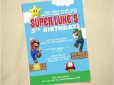 Mario Brothers Birthday Invitations Items Similar to Super Mario Brothers Custom Birthday