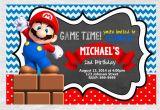Mario Brothers Birthday Invitations Super Mario Brothers Birthday Invitation Chalkboard Chevron