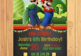 Mario Brothers Birthday Invitations Super Mario Brothers Invitation Chalkboard Super Mario