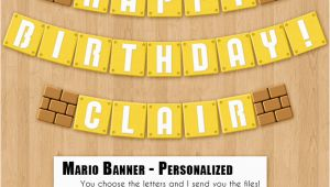 Mario Happy Birthday Banner Super Mario Bros Birthday Banner Printable