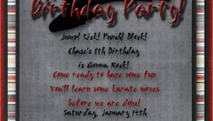 Martial Arts Birthday Invitations Karate Martial Arts Birthday Party Invitation