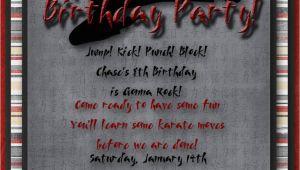 Martial Arts Birthday Invitations Karate Martial Arts Birthday Party Invitation