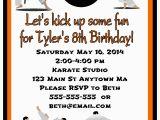 Martial Arts Birthday Invitations Karate Martial Arts Birthday Party Invitations orange