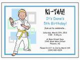 Martial Arts Birthday Invitations Martial Arts or Karate Kid Birthday Party Invitation Boy