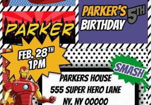 Marvel Avengers Birthday Invitations Avengers Superhero Comic themed Birthday Invitation