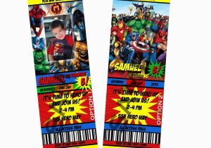 Marvel Avengers Birthday Invitations Marvel Heroes Birthday Party Ticket Invitation 8 Options