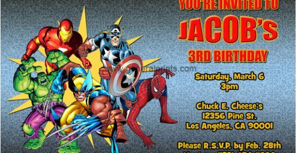 Marvel Superhero Birthday Invitations Marvel Superhero Invitations General Prints