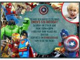 Marvel Superhero Birthday Party Invitations Personalized Lego Marvel Heroes Invitations Thank You Cards