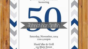 Masculine Birthday Invitations Masculine Birthday Party Invitation Navy Grey Chevron 50th