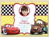 Mcqueen Birthday Invitation Cards Cars Birthday Invitation Disney Photo Card Lightning